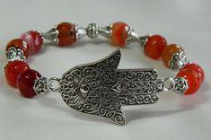 Red agate Hamsa/kaf/Hand of Fatima/Hand of Mary/ Virgin Mary's Hand/ Kef Miryam/ Khamsah/protection bracelet