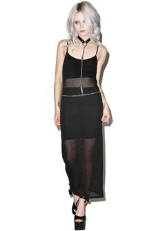 Killstar Dome Play Maxi Dress will get ya ready for sum devilish fun under the eclipsed sun! This awesome sleeveless maxi dress features a smooth 'n sleek sheer black ribbed construction, rounded neckline, opaque panels at the chest 'n legs, open back, and crossed back straps in tha shape of a pentagram.