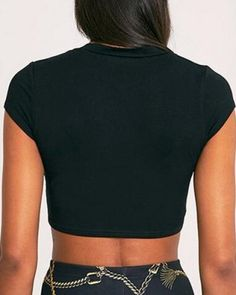 Sexy cut out crop top for women plain black ripped t shirts short style Plain White T Shirt, Plain Black, Shirts With Holes, Hiphop, Turtle Neck, Crop Tops, Sleeve, Sexy, Womens Fashion