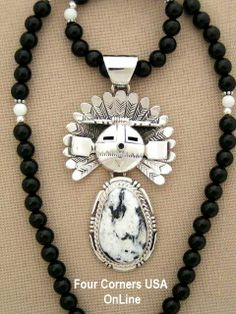 Four Corners USA Online Native American Artisan Jewelry - Large SunFace Kachina Sacred White Buffalo Turquoise Pendant Necklace NAN-1401, $658.00 (http://stores.fourcornersusaonline.com/large-sunface-kachina-sacred-white-buffalo-turquoise-pendant-necklace-by-navajo-artisan-freddy-charley-nan-1401/)