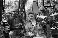 Henry Fonda and Katharine Hepburn between takes on the set of On Golden Pond