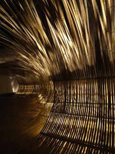 Japanese architect Kengo Kuma bent bamboo into walkways and seating areas to create this installation.