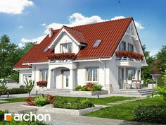Dom w lewkoniach 2 Dream House Plans, Design Case, Home Fashion, Space Saving, Beautiful Homes, Farmhouse, Exterior, House Design, Windows