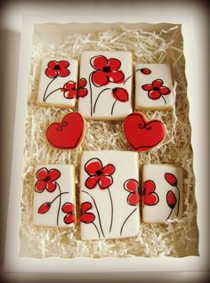 love how the cookies all fit together . Decorated Cookies With Flowers via… Fancy Cookies, Valentine Cookies, Iced Cookies, Cute Cookies, Easter Cookies, Royal Icing Cookies, Cupcake Cookies, Sugar Cookies, Valentines