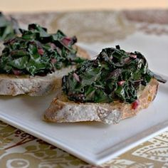 You only need four ingredients to make this yummy crostini appetizer--beet greens, salt, olive oil, and fresh pepper.
