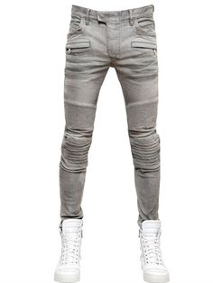 $1,423, Grey Jeans: Balmain 16cm Stretch Cotton Denim Jeans. Sold by LUISAVIAROMA. Click for more info: https://lookastic.com/men/shop_items/21313/redirect
