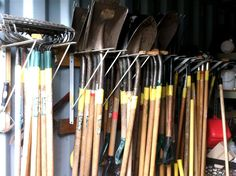 shed organization ideas - stacking hand tools