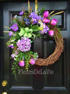 Spring door wreath Floral door wreath Silk floral by FleursDeLaVie