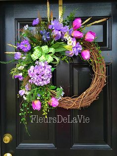 Spring door wreath Floral door wreath Silk floral by FleursDeLaVie