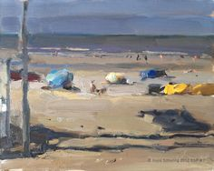 Roos Schuring New paintings- Seascapes and landscapes plein air: Seascape spring #7 Composition in sand- Zomers zeegezicht strand
