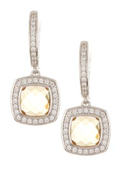 Rhodium White Pave Drop Earrings   Nordstrom Rack