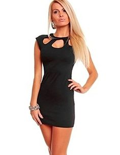 Gasion Women Hot Neck Rhinestone Mini Skirt Ball Night Club Dress  One Size Black -- For more information, visit image link.