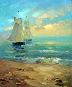 Original fineart -Boats&sunset- contemporary wall art  oil palette knife painting by Dmitry Spiros 24x32, 60x80cm