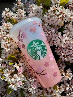 Cherry Blossom Starbucks Cup / Pink Ombré Glitter Cup / Epoxy Cup Personalized Starbucks Cup, Custom Starbucks Cup, Starbucks Gift Card, Personalized Cups, Starbucks Plastic Cups, Starbucks Glitter Cup, Coffee Cup Design, New Business Ideas, Custom Bottles