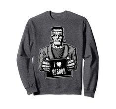 I Love Horror Frankenstein Monster Sweatshirt Amazon Clothes, Mary Shelley, Frankenstein's Monster, Classic Monsters, Vintage Horror, Raglan Shirts, Sign Design, Graphic Sweatshirt, T Shirt