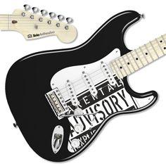 Pegatina guitarra Parental Advisory #decoracion #guitarra #electrica #fender #stratocaster #vinilo #pegatina