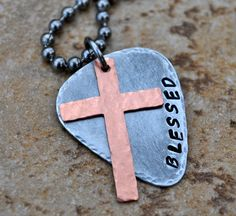 Handstamped Guitar Pick Necklace with Cross by CarriesCustomDesigns