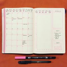 """43 Likes, 1 Comments - JashiiCorrin (@jashiicorrin) on Instagram: """"Set up my monthly for August hoping for a productive month! ☺️ ----------- #bulletjournal #bujo…"""""""