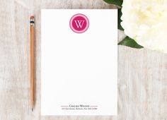 11 Cute Notepads to Celebrate National Memo Day Monogrammed Stationery, Personalized Stationary, Circle Monogram, Monogram Gifts, Writing Lists, Pretty Cards, Shirts For Girls, Pilates Logo, Pilates Studio