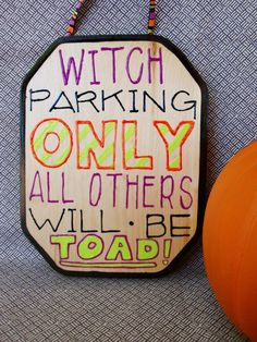Witch Parking  Wooden Sign by JordanDesignsForLove on Etsy