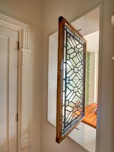 """""""View this Great Traditional Entryway with Interior window & leaded glass window by Ben Herzog Architect, PC. Discover & browse thousands of other home design ideas on Zillow Digs. Transom Windows, Wood Windows, Windows And Doors, Window Grill Design, Custom Stained Glass, Entry Way Design, Interior Windows, Leaded Glass, Glass Door"""