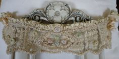 OOAK BRIDAL HEAD PIECE OPULENT ANTIQUE FRENCH LACES SILK & SILK ROSES