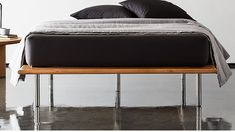 Sturdy midcentury dream floats on solid acacia wood and sleek stainless steel legs. Earthy yet industrial, it's a GQ-designed bed that gives its best and looks even better. Platform Bed Mattress, Wood Platform Bed, Bedroom Furniture, Home Furniture, Oak Nightstand, Inside Home, Bed Reviews, Queen Mattress, Modern Bedroom