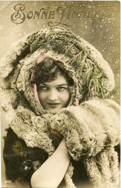 Original French vintage hand tinted real photo postcard - Lady wearing fur wintercoat - Victorian Paper Ephemera.