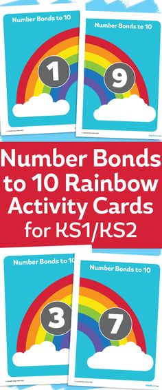 Number Bonds To 10 Rainbow Activity Cards For Number Bonds To 10, Rainbow Activities, Rainbow Card, Teacher Boards, First Grade Math, Kindergarten Math, School Fun, Math Lessons, Teaching Resources