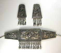 Intricate Indian Ethnic Antique Beaten Silver Effect Choker