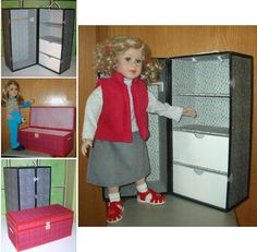 "Make your own foam board Wardrobe and Trunk set PDF pattern by MorrisseyDolls for 18-24"" dolls"