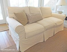 Washable slipcovers are a must-have at my customer's welcoming home on Lake Michigan. The original white sofa and chair slipcovers held up well to kids, dogs (a lot of dogs), overnight guest… Custom Slipcovers, Furniture Slipcovers, Furniture Covers, Slipcovers For Chairs, Cool Furniture, Drop Cloth Slipcover, Chair Slipcovers, Furniture Market, Street Furniture