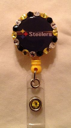 Pittsburgh Steelers II Retractable Badge Reel Embellished w/Swarovski Crystals - New, $9.95