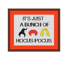 Thank you for visiting my store. This listing is for Counted Cross Stitch Pattern Its Just A Bunch Of Hocus Pocus It is available for instant download in PDF format. Please read all terms and conditions carefully before purchasing this item. Please note this is a CROSS STITCH PATTERN only. No other cross stitch supplies are included with this listing. xxxxxxxxxxxxxxxxxxxxxx PATTERN SPECIFICATIONS: Skill level: Beginner Stitches Used: full Cross Stitch. Backstitch. Fabric: 14 count Aida ...
