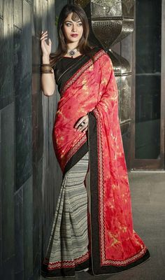 Brighten up your day with cheerfulness dressed in this black, cream and red georgette half n half sari. This beautiful attire is showing some wonderful embroidery done with lace work. Upon request we can make round front/back neck and short 6 inches sleeves regular saree blouse also. #NewPrintedDesignerSarees