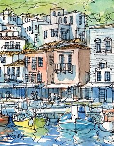 Hydra Greece 10 x 8 print of watercolor painting by AndreVoyy, $20.00