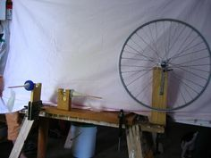 Home made, functional, bicycle wheel and scrap spinning wheel! Very, very cool!