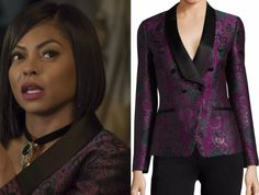 Empire Fashion, Clothes, Style and Wardrobe worn on TV Shows   Shop Your TV - Empire Season 4-Episode 4 - Cookie's Purple Jacquad Jacket
