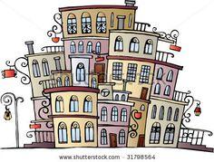 stock vector : cartoon vector drawing town
