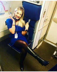 Female Flight Attendant in blue dress Brown High Heel Boots, Knee High Boots, Delta Flight Attendant, Cabin Crew, Sexy Boots, Gossip Girl, Beautiful, Lady, Fly Girls