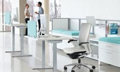 Standing desk & height adjustable table for sit and stand office ergonomic work. Standing desks space design ideas for business and start ups. Used Office Chairs, Used Office Furniture, New Furniture, Office Desk, Open Office, Used Cubicles, Adjustable Height Table, Sit Stand Desk, Work Station Desk