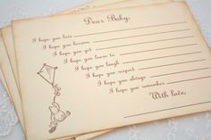 Baby Shower Wishes for Baby Game Activity Cards Fill in the Blanks Vintage Winnie the Pooh