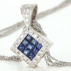 Estate 14 Karat White Gold Sapphire Diamond Cocktail Triangle Pendant Necklace