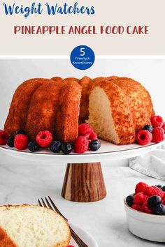 This 3 ingredient Pineapple Angel Food Cake is just 5 SmartPoints per portion on all of the Weight Watchers plans. An easy, delicious WW dessert recipe. #weightwatchersdessertrecipe #wwrecipes #wwrecipeswithpoints #wwdesserts #wwblueplan #wwgreenplan #wwpurpleplan Weight Watchers Pasta, Weight Watcher Cookies, Weight Watchers Vegetarian, Weight Watchers Desserts, Ww Recipes, Cake Recipes, Dessert Recipes, Healthy Recipes, Healthy Eats