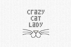PDF pattern Crazy cat lady quote cross stitch by AManicMonday