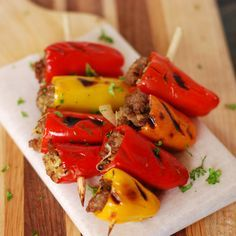 Sausage Stuffed Mini Sweet Pepper Skewers (sub in olive oil and take out cheese to make Paleo)