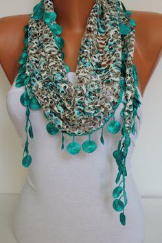 Woman Shawl Scarf  Headband with circle Lace Edge  by DIDUCI, $13.50
