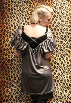 Vintage 80's slouchy grey metallic cut out punk grunge dress from Pretty Disturbia £12.50