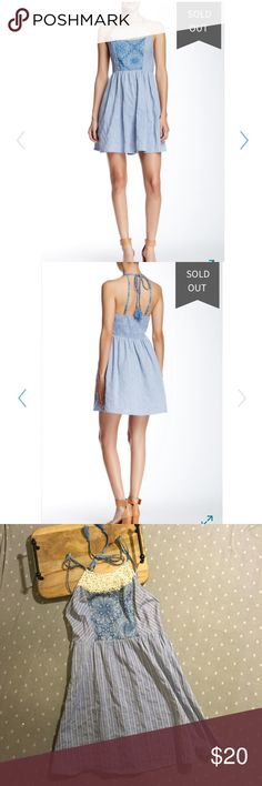 """NWOT Lace Trim Chambray Dress New without tags. Flying Tomato Lace Trim Chambray Halter Dress. - Halter neck with lace trim - Halter tie straps and adjustable spaghetti straps - Smocked back - Allover print - Approx. 33"""" length - 110% Cotton - Measurements coming soon Flying Tomato Dresses Mini"""