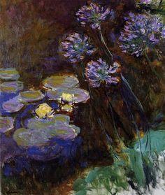 Acheter Tableau 'Nénuphars et Agapanthus' de Claude Monet - Achat d'une reproduction sur toile peinte à la main , Reproduction peinture, copie de tableau, reproduction d'oeuvres d'art sur toile